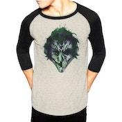 Batman - Joker Art Face Men's Large Long sleeved T-Shirt - Grey