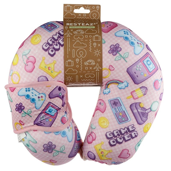 Relaxeazzz Next Gen Game Over Travel Pillow & Eye Mask Set
