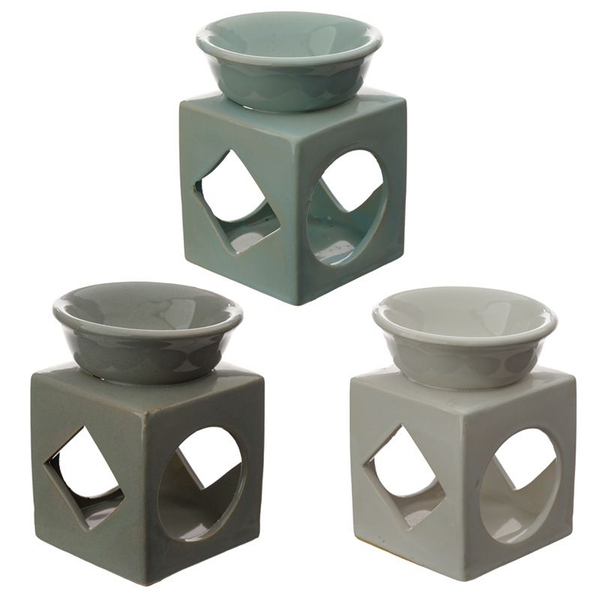 Eden Cube Ceramic Oil and Tart Burner with Geometric Cut-out