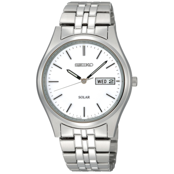 Seiko SNE031P1  Solar Powered Stainless Steel Watch with White Dial & Silver Bracelet