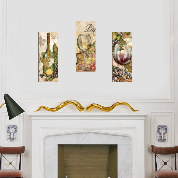XTP062 Multicolor Decorative Framed MDF Painting (3 Pieces)
