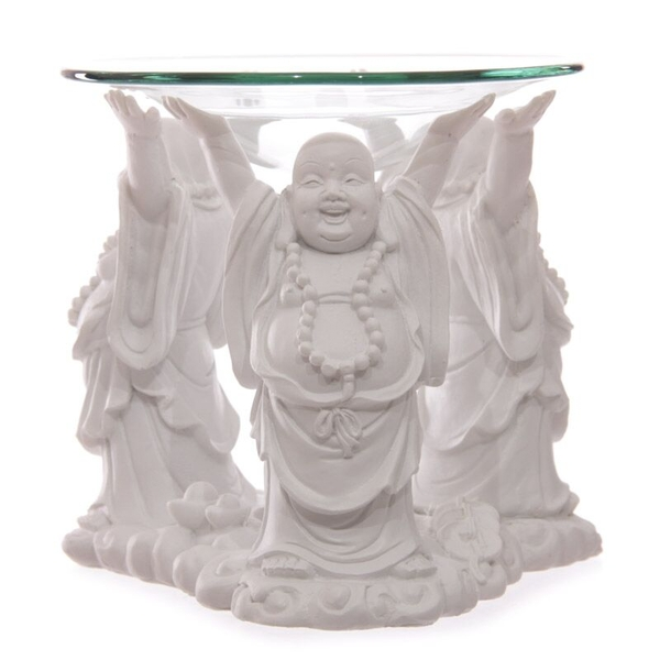 White Chinese Buddha Oil Burner with Glass Dish