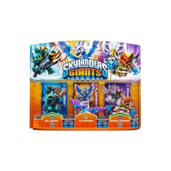 Gill Grunt, Flashwing, and Double Trouble (Skylanders Giants) Triple Character Pack D (Ex-Display) Used - Like New