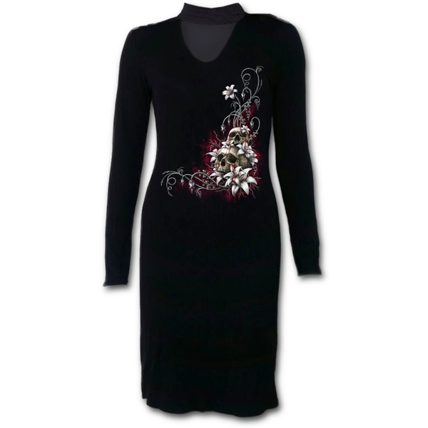 Blood Tears Women's Medium Neck Band Elegant Dress - Black
