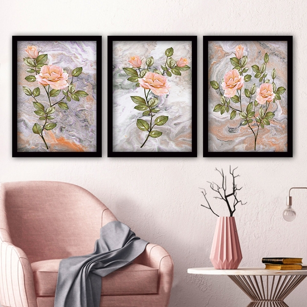 3SC90 Multicolor Decorative Framed Painting (3 Pieces)