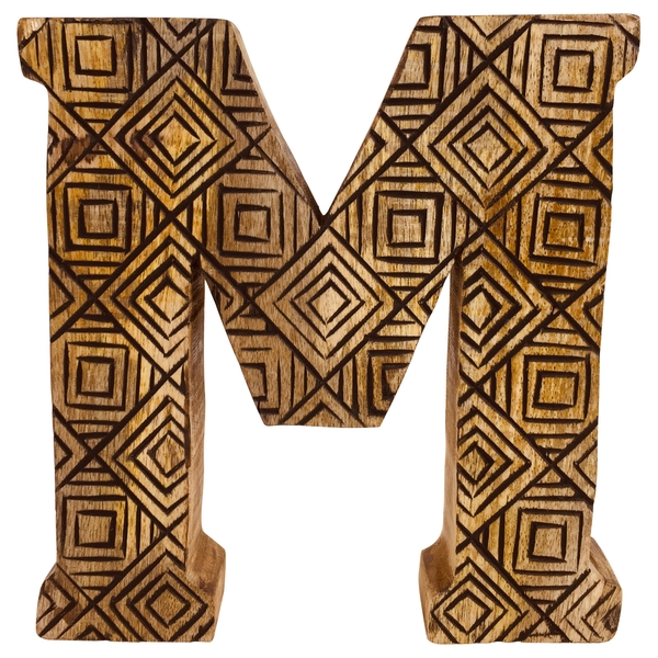 Letter M Hand Carved Wooden Geometric