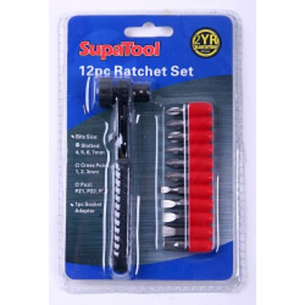 SupaTool Ratchet Screwdriver 12 piece