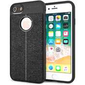 iPhone 8 Auto Camera Focus  Leather Effect Gel Case - Black