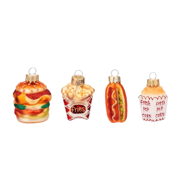 Sass & Belle (Set of 4) Fun Fast Food Shaped Baubles