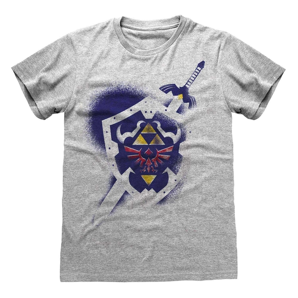 Legend Of Zelda - Shield Unisex Small T-Shirt - Grey