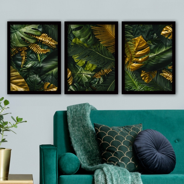 3SC52 Multicolor Decorative Framed Painting (3 Pieces)