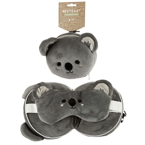 Relaxeazzz Plush Cutiemals Koala Round Travel Pillow & Eye Mask