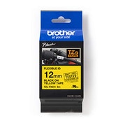 Brother TZe-FX631 Labelling Tape Cassette, Black on Yellow, 12mm (W) x 8M (L), Flexible ID, Brother Genuine Supplies