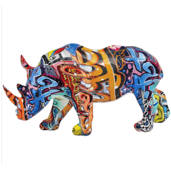 Graffiti Rhino Figurine By Lesser & Pavey