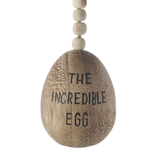 Hanging Wooden the Incredible Egg by Heaven Sends