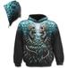 Flaming Spine Allover Men's Small Hoodie - Black - Image 2