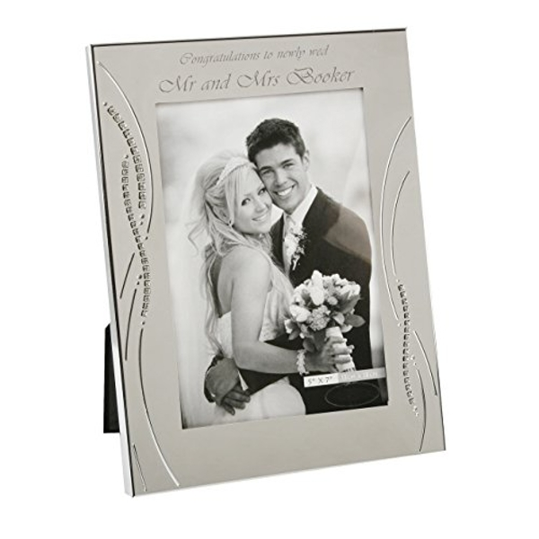 "5"" x 7"" - Silver Plated Wedding Photo Frame with Crystals"