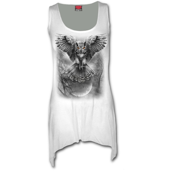 Wings of Wisdom Women's Large Goth Bottom Vest Dress - White - Image 1