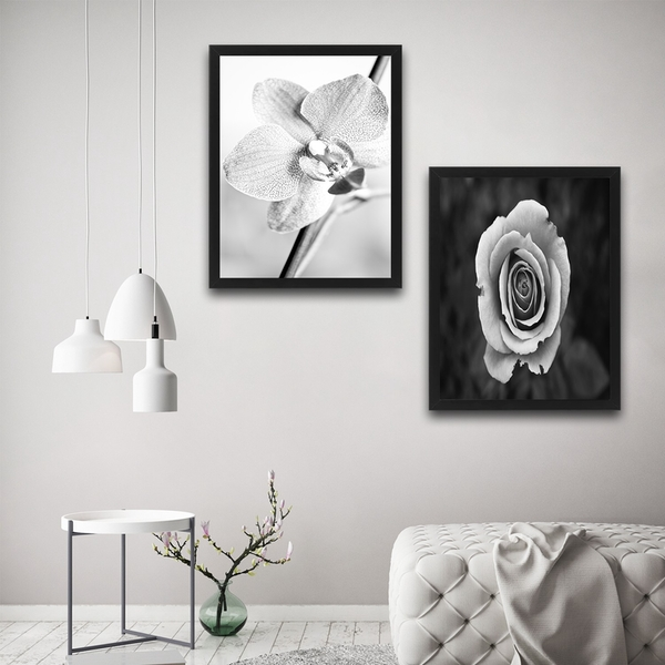 Grey Flower Set Multicolor Decorative Framed Painting (2 Pieces)