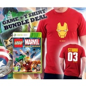 Lego Marvel Super Heroes Game + Iron Man I Can Fly Stark Double Sided Red T-Shirt Medium Xbox 360