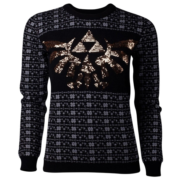 Nintendo - Glitter Tri-Force Christmas Women's Large Sweater - Black