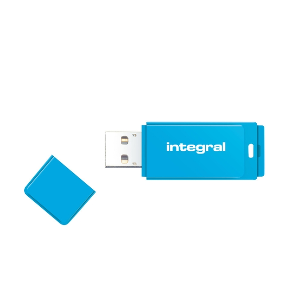 Integral 64GB USB2.0 Memory Flash Drive (Memory Stick) Neon Blue