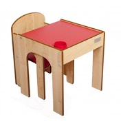 Little Helper Original FunStation Toddler Table & Chair Set (Maple/Red) 12months +