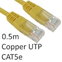RJ45 (M) to RJ45 (M) CAT5e 0.5m Yellow OEM Moulded Boot Copper UTP Network Cable