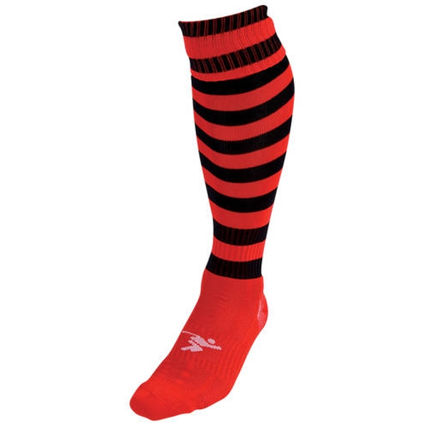 Precision Hooped Pro Football Socks Red/Black - UK Size J12-2