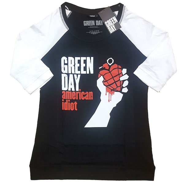 Green Day - American Idiot Ladies Small T-Shirt - Black,White