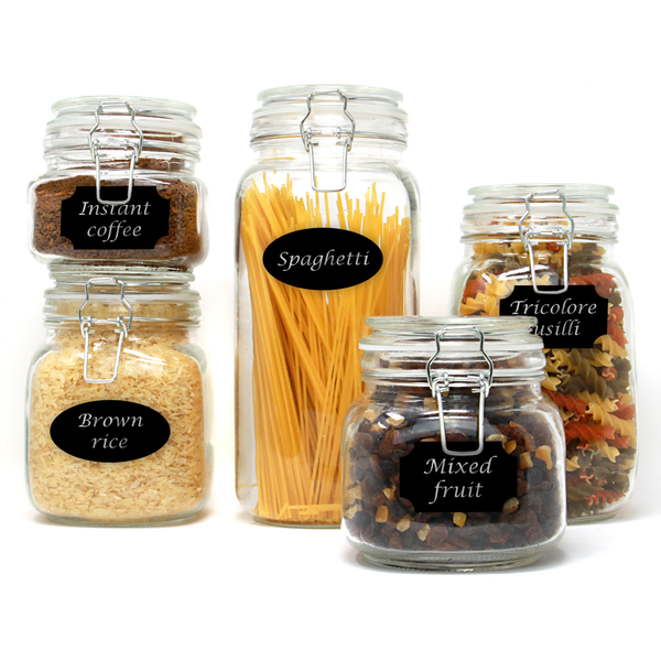 Assorted Set of 5 Clip Top Glass Storage Jars | M&W
