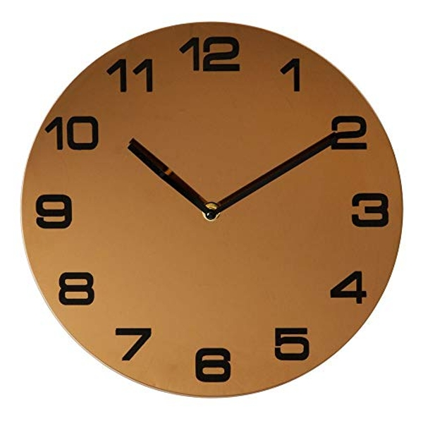 Hometime Rose Gold Finish Round Wall Clock Arabic Dial