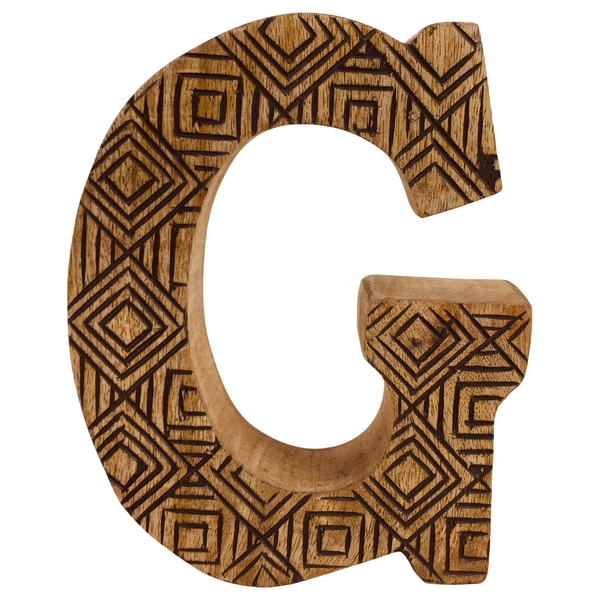 Letter G Hand Carved Wooden Geometric