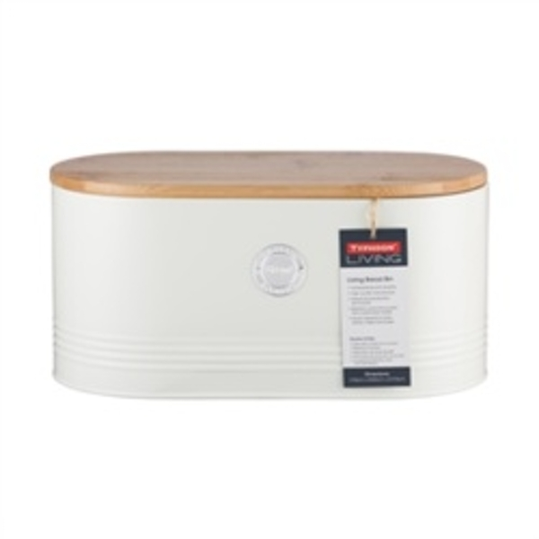 Typhoon Living Bread Bin with Bamboo Lid 16 x 33.5 x 18 cm Cream