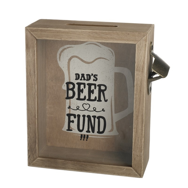Wooden Money Box with Bottle Opener Dads Beer Fund