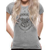 Harry Potter - Hogwarts Logo Women's Large T-Shirt - Grey