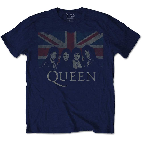 Queen - Vintage Union Jack Unisex Large T-Shirt - Blue