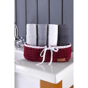 373VDN1140 Olivia Sepet - Red Red Wash Towel Set (5 Pieces)