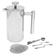 French Press Cafetiere   Steel Coffee Maker   FREE Filters & Spoons   M&W 1500ml