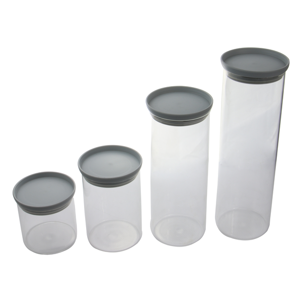 Set of 4 Glass Food Airtight Storage With Plastic Lids | M&W