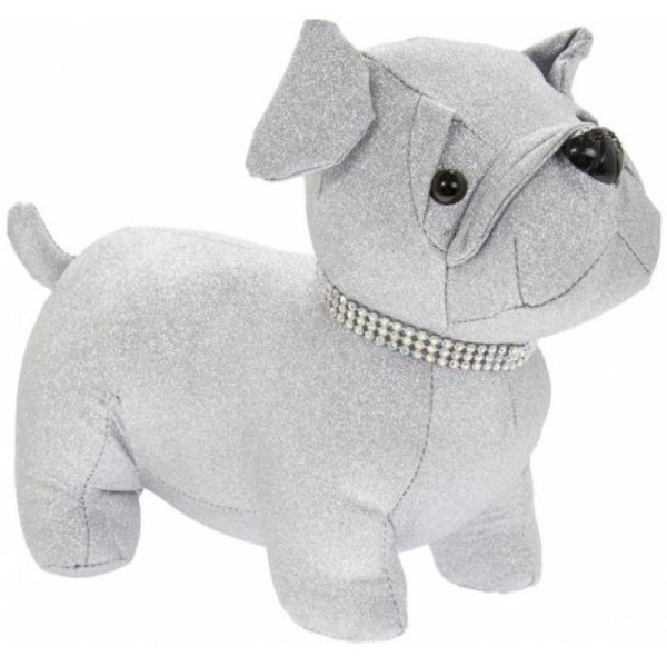 Silver Bling Pug Doorstop By Lesser & Pavey
