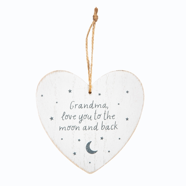 Sass & Belle Grandma Love You ot the Moon and Back Heart Plaque