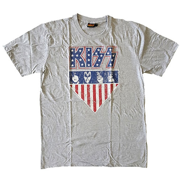 KISS - Stars And Stripes Unisex Large T-Shirt - Grey