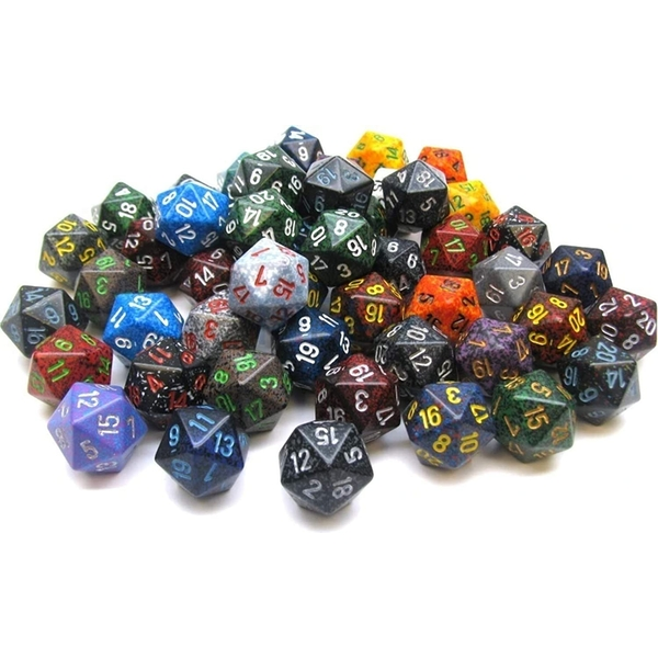 Polyhedral D20 Speckled Dice 50 Pack