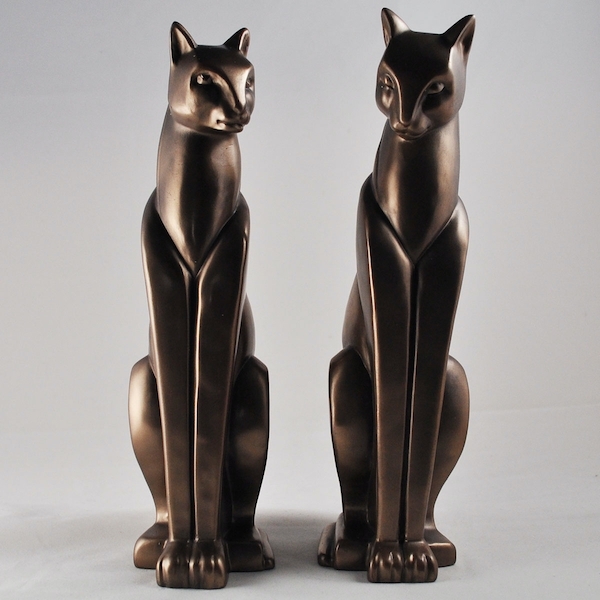 Pair Stylised Cats Cold Cast Bronze Sculpture
