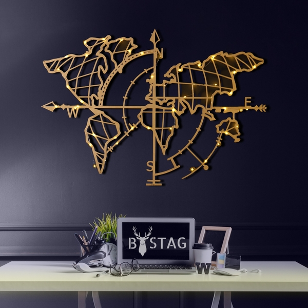 World Map Compass Led - Gold Gold Decorative Metal Wall Accessory