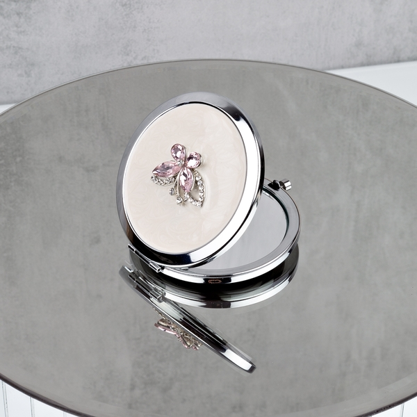 Sophia Silverplate Pink Butterfly Compact Mirror