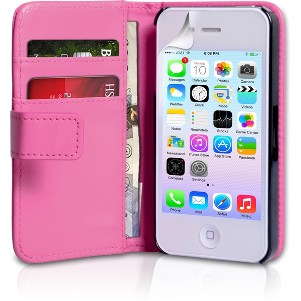 YouSave Accessories iPhone 4 / 4s PU Leather Wallet Case - Hot Pink