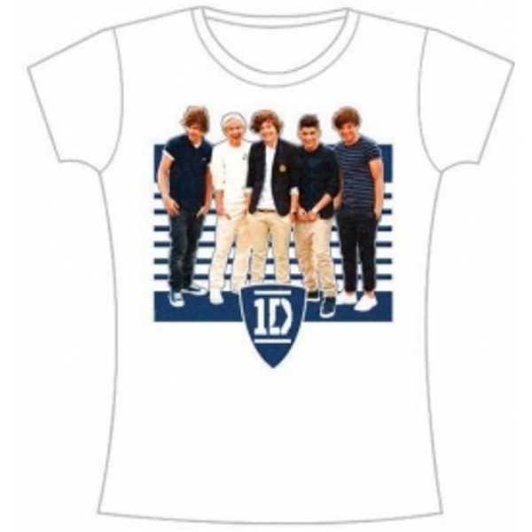 One Direction Ivy League Stripes Skinny White TS: Large