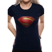 Superman Man Of Steel - Textured Logo Fitted Blue T-Shirt Large